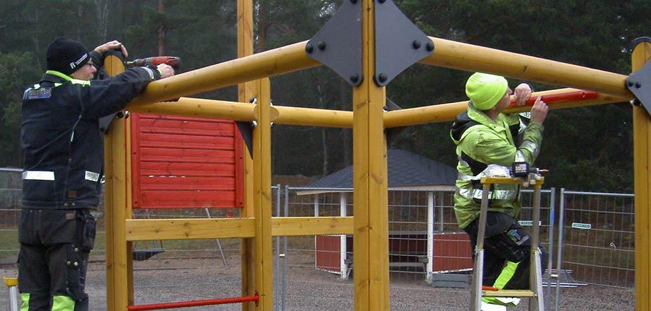 slide-lekplatsmontering